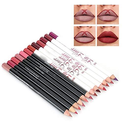 12 colores/juego delineador de labios mate resistente al agua lápiz labial mate de larga duración Sexy lápiz delineador de labios maquillaje cosmético belleza