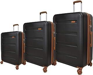 تراك حقيبة سفر صلبة بعجلات، 4 عجلات ، 3 قطع - لون اسود