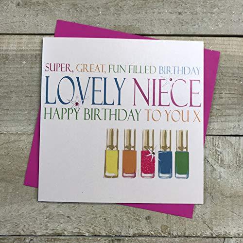 White Cotton Cards wenskaart/verjaardagskaart voor meisjes, met Engelstalige opschrift, motief: neonkleurige nagellak collectie, wit