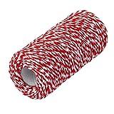 rosenice, corda di cotone da 100m a due fili, per decorare i pacchetti regalo (rosso + bianco)