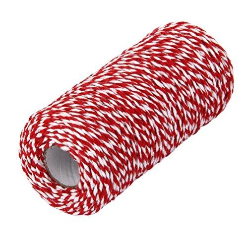 PIXNOR Twine chaîne cordon de 100m coton Baker pour verre bouteille cadeau boîte Decor Craft (rouge + blanc)