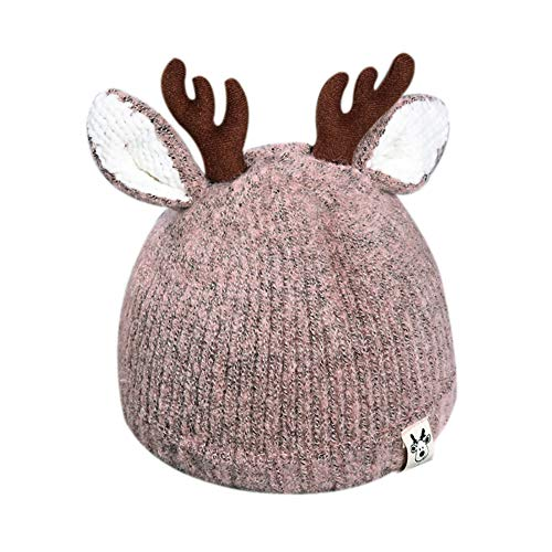RARITY-US Kids Winter Hat Toddler Pom Pom Knit Antlers Hats Lined Plush Earflap Winter Warm Cap for Girls Boys Baby Pink