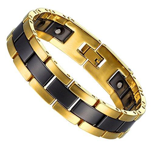 Eindrucksvolles Link-Armband für Männer aus zweifarbigem Wolfram (goldfarben, schwarz)