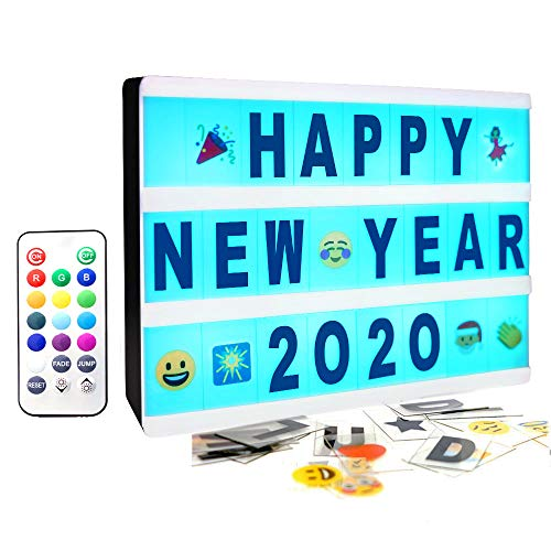Gemaxvoled Color Changing Cinematic Light Box- A5 Magnetic Mini Cinema Light Up Sign with 160 Letters Numbers and Symbols, Personalized 13 Colored LED Lightbox for Home Decor,Wedding,Birthday Parties