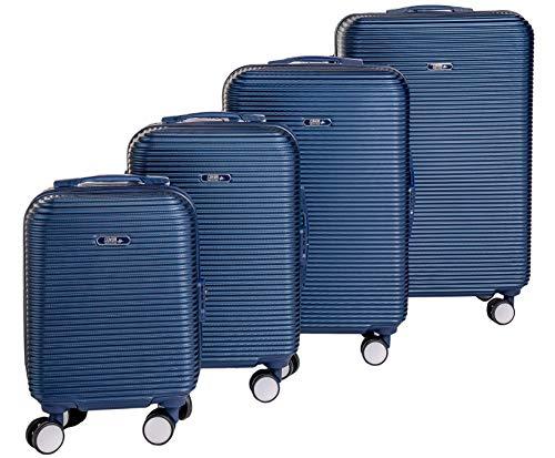 Enrico Coveri Moving Set Quattro Trolley da Viaggio Blu, Valigie Rigide ABS in Quattro Dimensioni