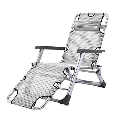 Silla de escritorio de oficina, sillas reclinables de patio, de gran tamaño, tumbona de gravedad cero, silla de camping portátil de 200 kg (color sin cojines)