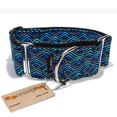 candyPet Halsband für Hunde aus Baumwolle – Hundehalsband – Handarbeit – extra breit – in 4 Größen – mit oder ohne Clickverschluss – leicht verstellbar -Triangle Martingal 4cm (30-40cm)