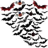 Halloween Decorazioni,40 Pezzi 3D Pipistrelli Zucca Adesivi Set,Elettricità Spettrali Finestra Parete Vetro murali Sticker per Casa Finestra,DIY Party Accessori per Bambini Feste e Festival Fantasma
