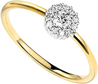 14K Solid Yellow Gold Diamond Delicate Engagement Wedding Ring Dainty Fine Jewelry for Women Girls (0.128ct, Clarity SI2; Color I-J)