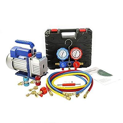 PBAUTOS Single Stage Vacuum Pump and 4-Way Manifold Gauge Set with Aluminum Valve Body