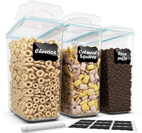 Top Quality Cereal Container Storage Set 3 Pc -135.2oz + 18 Labels & Pen - Airtight Dry Food Keepers - Great For Cereal, Flour, Sugar - BPA Free Dispenser - Shazo …