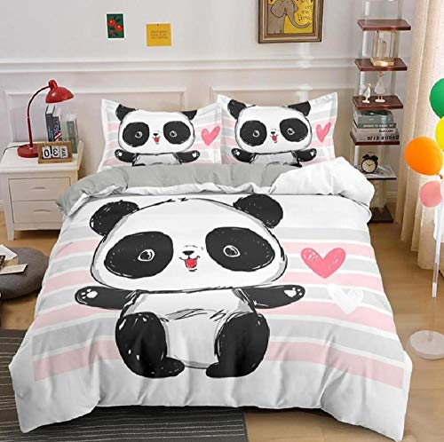BAIYANG Bedding Decor Bedclothes Cute Panda Patterns Bedding Set 2/3Pcs King Queen Size Duvet Cover Set Super King(260x220cm)