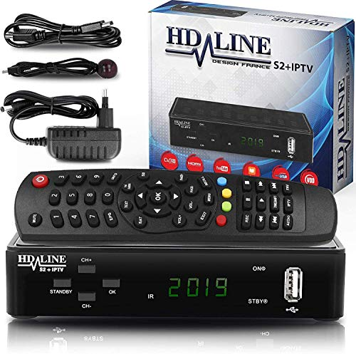 hd-line Tivusat Satelliten SAT Receiver (HDTV, WiFi, DVB-S/S2, HDMI, AV, 2X USB 2.0,) (Vorprogrammiert für Astra Hotbird und Türksat) - Es ist kompatibel mit Tivusat Karte! (Achtung Keine Karte drin)