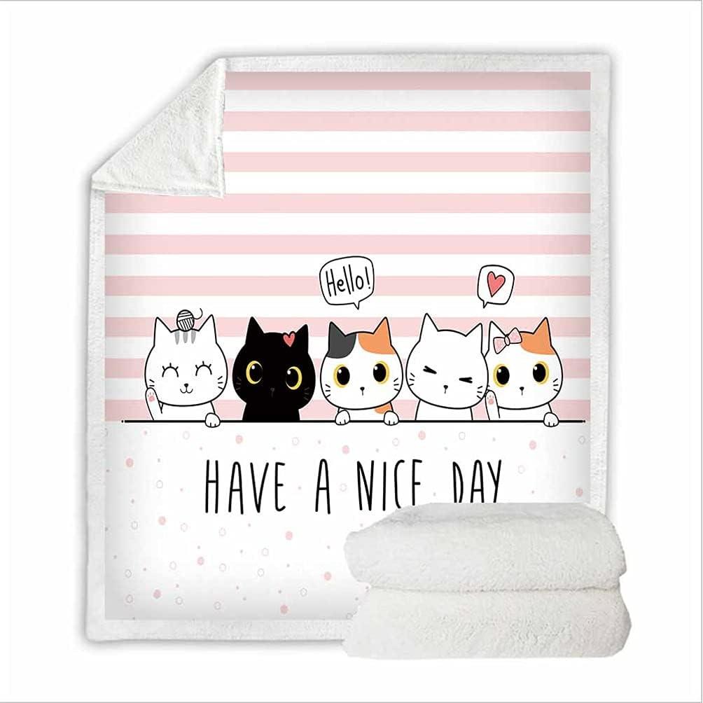 FOTM Cartoons Animal Cat Kitten Printing Memphis Mall Fleece Blanket White 3D Mesa Mall