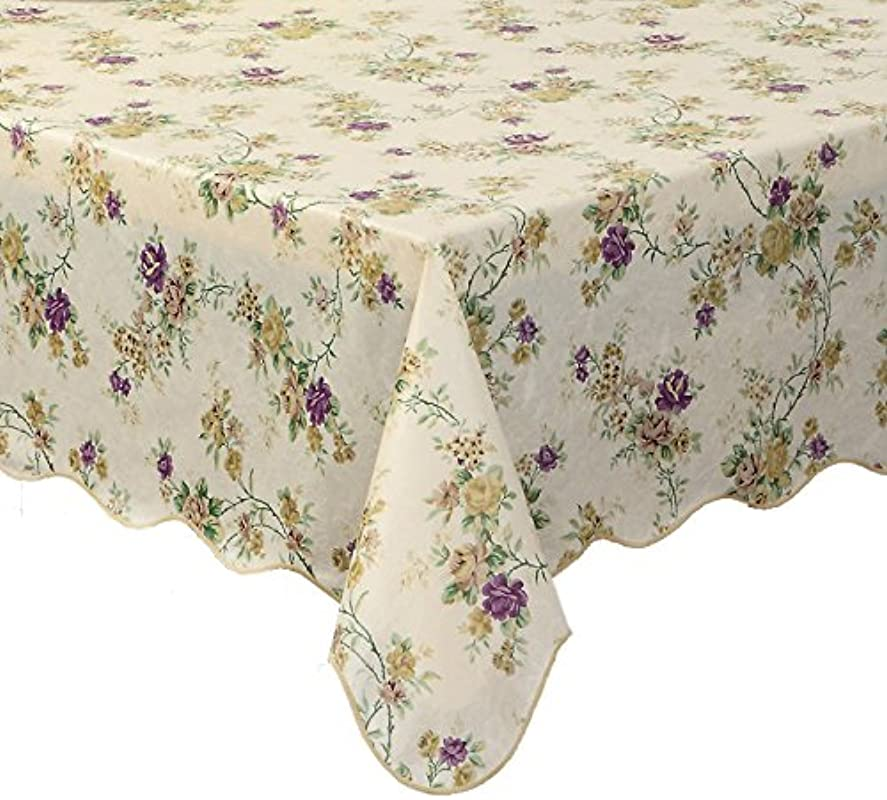 Ennas Cz028 Waterproof Vinyl Felt Backed Tablecloth Oblong Rectangle 54 Inch By 72 Inch Oblong Rectangle