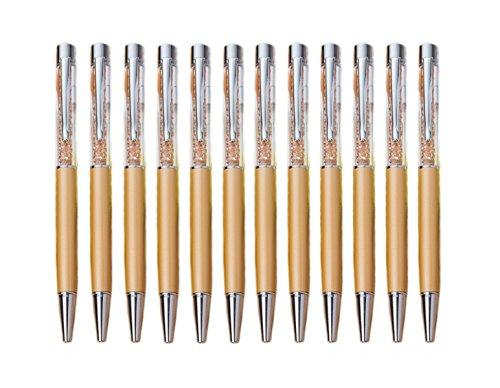 MengRan Bling Bling Slim Crystal Top Diamond Ballpoint Pen, Gold, Pack of 12