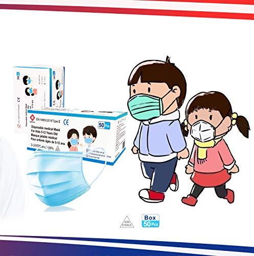 Infantiles- 50 Mascarillas quirúrgicas para niños - homologadas- Desechables de 3 capas - Certificado CE - Tipo II- 3 capas - Polipropileno- Dispositivo médico