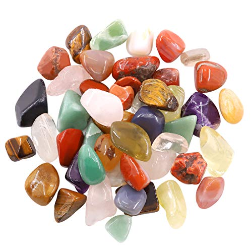 Hilitchi 1lb Bulk Large Natural Tumbled Polished Brazilian Stones Gemstone Healing Crystals Quartz for Wicca, Reiki, and Energy Crystal Healing (Big Assorted Stones About 1lb/450g/16oz/Bag)