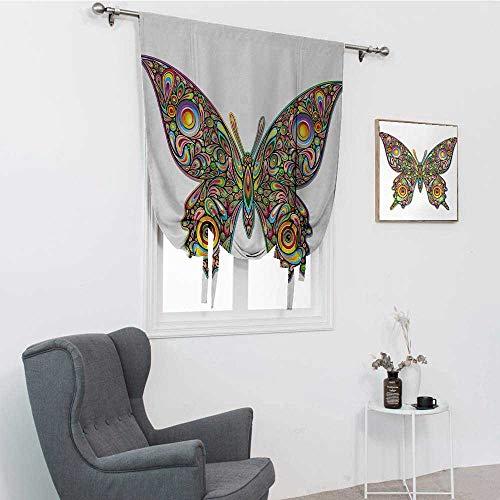 GugeABC - Cortinas de globo con diseño de mariposas psicodélico, diseño artístico, espirales de vida silvestre, diseño artístico para habitación oscura, multicolor, 48 x 64 pulgadas