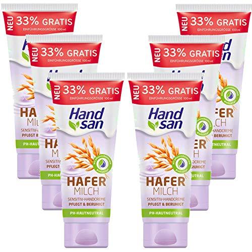 100ml Handsan Hafermilch Sensitiv Handcreme 24h Feuchtigkeit pflegt PH Neutral 6er Pack (6x100ml)