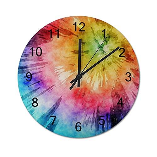 Reloj de Pared Vintage,Gráfico geométrico,Relojes de Pared de Madera silenciosos Que no Hacen tictac,Reloj de Pared rústico de Granja para la decoración del Dormitorio de la Sala de Estar