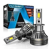 NOVSIGHT ledヘッドライト H3 超高輝度 22000LM(11000LM×2) 120W(60W×2) DC9-32V 6500K ホワイト 明るさ+800%超高輝度G-XPチップ LEDバルブ フォグランプ 車/バイク用 360°光軸調整可能 冷却ファン付き 2個セット 2年保証