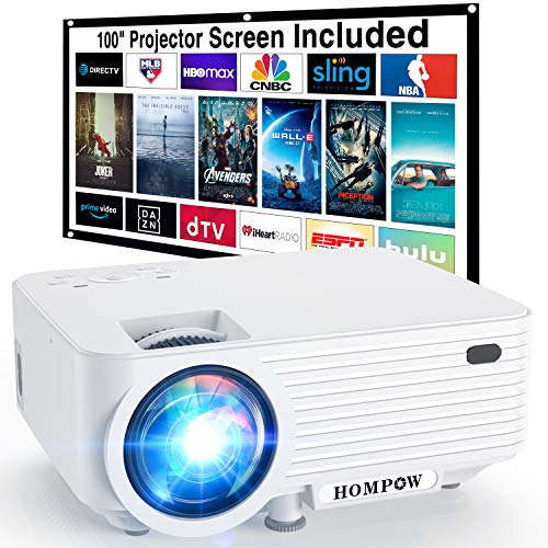 "Video Projector, 4500Lux Portable Mini Projector with 100"" Projector Screen, 1080P Supported Compatible with TV Stick/HDMI/VGA/USB/TV Box/Laptop/DVD/PS4 for Home Entertainment"