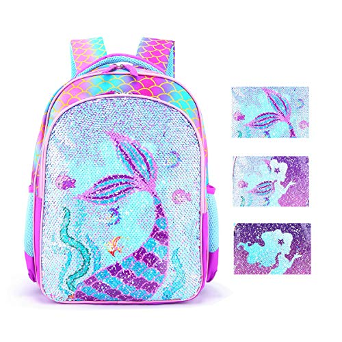 Reversible Sequin School Backpack Lightweight Little Kid Book Bag for Preschool Kindergarten Elementary, 15inch Mermaid