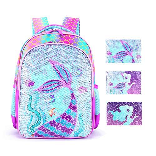 Reversible Sequin School Backpack Lightweight Little Kid Book Bag for Preschool Kindergarten Elementary Mermaid