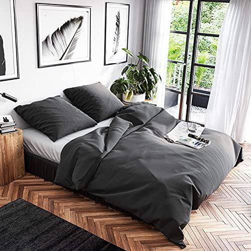 Wolkenfeld Bettwäsche 200x220 Baumwolle Grau - Atmungsaktiv - 3teilig - 1x Bettbezug 200x220 + 2X Kissenbezug 80x80 - Anthrazit