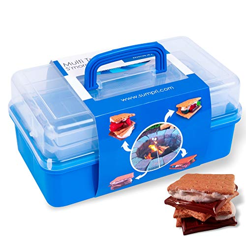 SUMPRI Smores Caddy -Two Folding Trays Smore Storage Box (Does NOT Include Skewers) Keeps Your Marshmallow Roasting Sticks,Crackers,Chocolate Bars Organized -Campfire,Fire Pit Accessories Kit (Blue)