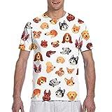 Nahtlose Hunde Gesichter lustige Hund Gesicht Welpe Haustier athletische Shirts für Männer kurz