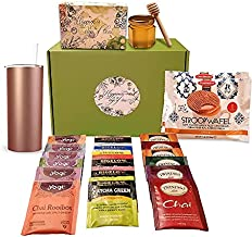 Variety Tea Gift set- Includes Double Insulated cup, 18 Flavors of Tea, 2 Stroopwafels and a Honey Jar with Wooden Dipper (Tea Gifts Rose Gold)