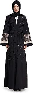 Vanansa Women's Lace Trim Abaya for Women Long Sleeve Beaded Maxi Dress Arabic Muslim Abaya Robe Loose Casual Dress for Women