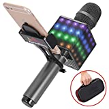 Portable Wireless Bluetooth Karaoke Microphone - KTV Machine with Speaker, LED Lights and Bonus Phone Holder Perfect for Pop, Rock n Roll, Solo Parties and More (H8 2.0 Gray)