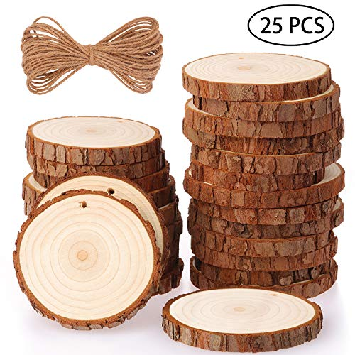 Fuyit Holzscheiben 25 Stücke Holz Log Scheiben 8-9cm mit Loch Unvollendete Holzkreise für DIY Handwerk Holz-Scheiben Hochzeit Mittelstücke Weihnach
