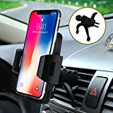 Car Mount,Car Phone Holder Bvenko Hide Lightning Cable and 360° Swivel Air Vent Car Phone Mount with A Quick Release Button Silicone pad Phone Holder for iPhone X,8/7Plus,Galaxy S8 and More