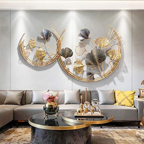 WJQQ 3D Wanddeko Metall, Wandschmuck, Wanddeko, Wandverzierung, Dekoration Ginkgo, Garten Wohnzimmer, Schlafzimmer, Esszimmer Wohnkultur