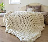 ERLYEEN Chunky Knit Blanket Merino Wool Hand Made Throw Boho Bedroom Home Decor Giant Yarn,Milk White,40'x60'