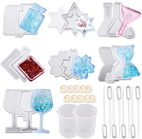 SUNNYCLUE 34Pcs Resin Shaker Mold Jewelry Set with Epoxy Silicone Molds Star Hourglass Flower product image