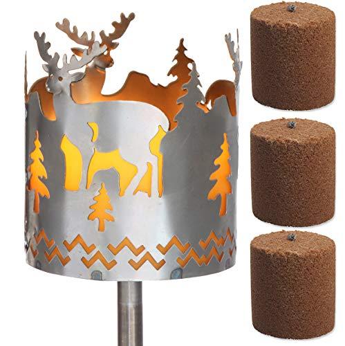 Novaliv Gartenfackel Hirsch Feuerschale Metall mit Stiel und 3xBrennmittel