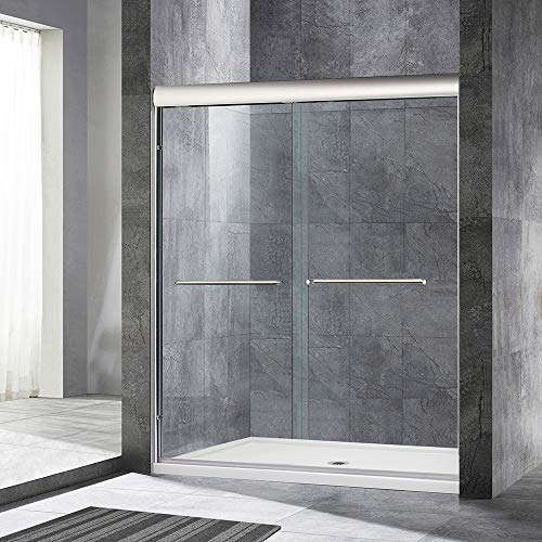 WOODBRIDGE 60' x 72' Double Sliding Frameless Shower (56' to 60' by 72'), Finish, MSDE6072-B, Bypass Door 60'x72' Brushed Nickel