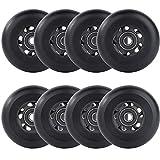 AOWESM Inline Skate Wheels 72mm 76mm 80mm Asphalt Outdoor Roller Blades Inline Hockey Replacement Wheel 85A (8 Wheels w/Bearings ABEC-9 and Spacers) (Black, 80mm Diameter)