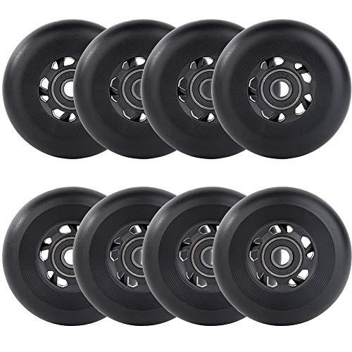AOWESM Inline Skate Wheels 85A Gripper Asphalt Outdoor Inline Roller Hockey Replacement Wheels with Bearings ABEC-9 (8-Pack) (Black, 80mm Diameter)