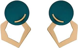Limaomao Ladies Vintage Earrings Tassel Pendant Painted Earrings The Latest Models Exaggerated Round Geometric Earrings Retro Wind Earrings Valentine's Day Birthday