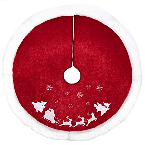 com-four® Hochwertige Weihnachtsbaumdecke zum Schutz vor Tannennadeln - runde Christbaumdecke für den Weihnachtsbaum - Unterlage mit Weihnachtsmotiv