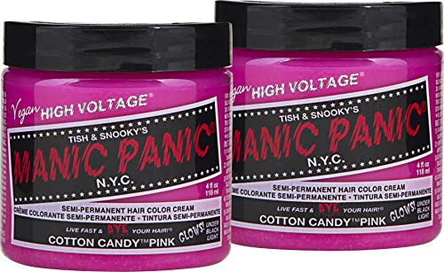 Manic Panic Cotton Candy Pink Hair Dye - Classic High Voltage - (2PK) Semi Permanent Hair Color - Glows in Blacklight - Bright, Cool-toned Pink Shade - Vegan, PPD & Ammonia-Free