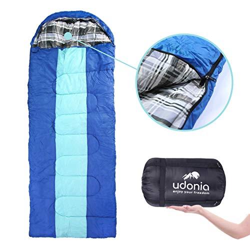udonia Schlafsack - Leichter Allwetter-Schlafsack (-10 bis +15 °C) für Camping oder Outdoor - kleines Packmaß & komplett zu Einer Decke ausklappbar (Blau)
