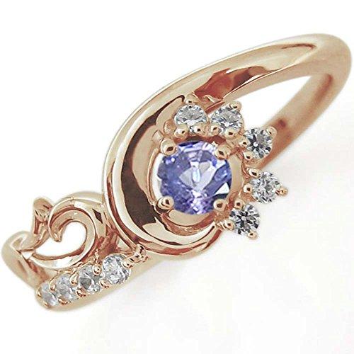 [プレジュール]結婚記念日 タンザナイト メモリアルリング 唐草 指輪 K18ピンクゴールド リングサイズ14号