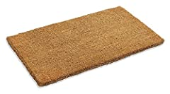 NATURAL DURABLE MATERIAL: 100% coconut fiber doormat; 18 Inch x 30 Inch helps to keep unnecessary mud and dirt away from the floor of the room and house SAFETY: Plain coco doormats improve safety and help prevent unfortunate litigation by reducing sl...
